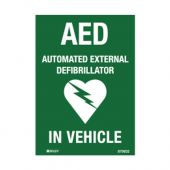 AED Defibrillator Labels - AED in Vehicle, 90 x 125mm, Pack of 5