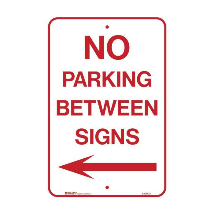 832003 Parking & No Parking Sign - No Parking Between Signs Arrow Left