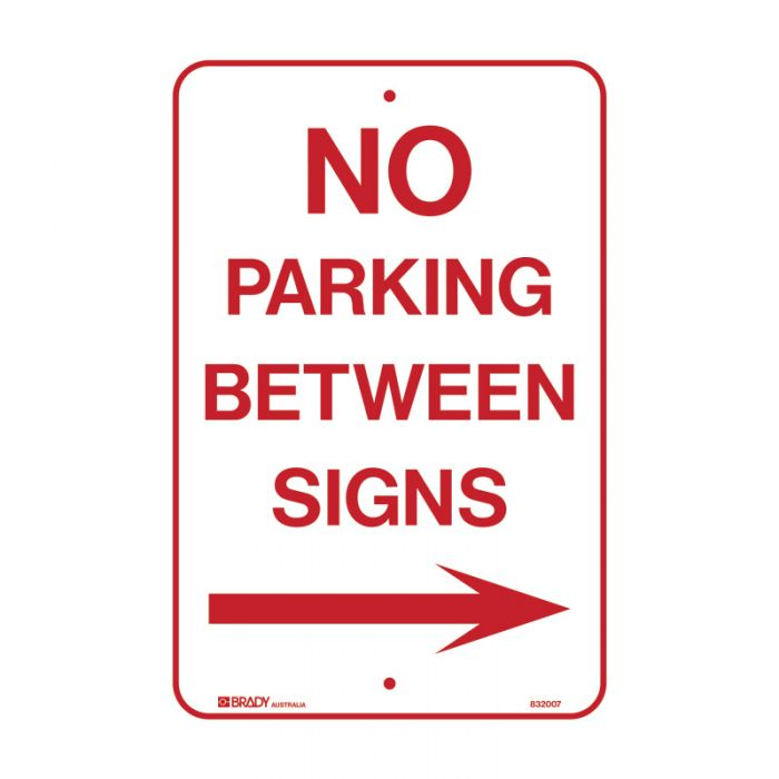 832008 Parking & No Parking Sign - No Parking Between Signs Arrow Right