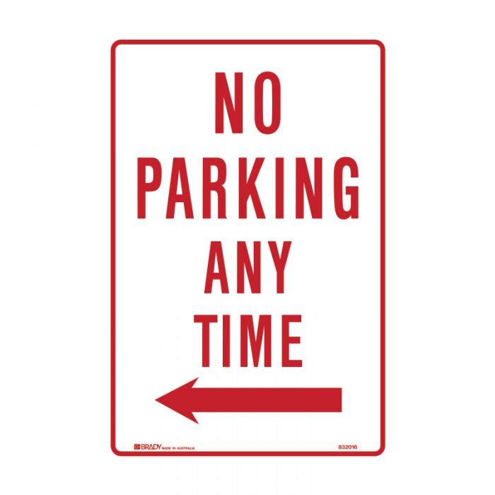 832016 Parking & No Parking Sign - No Parking Any Time Arrow Left
