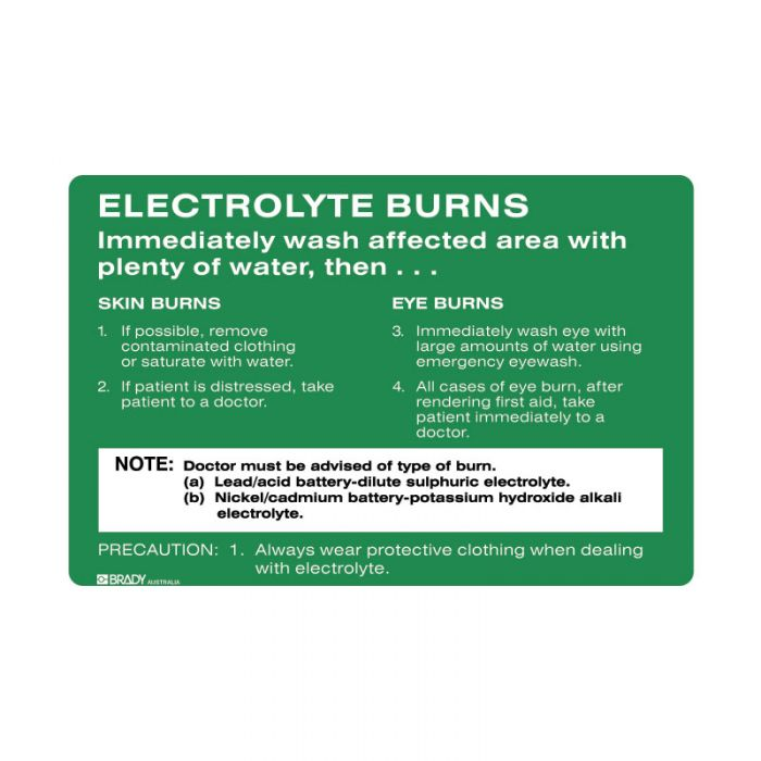 832202 Emergency Information Sign - Electrolyte Burns