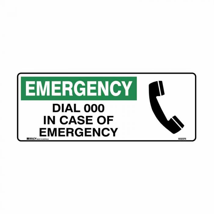 832375 Emergency Information Sign - Emergency Dial 000 In Case Of Emergency