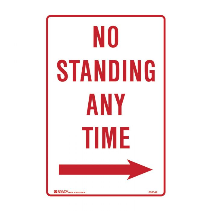 Parking & No Parking Sign - No Standing Any Time Arrow Right