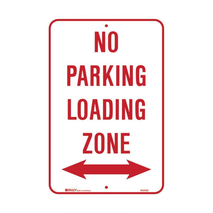 832558 Parking & No Parking Sign - No Parking Loading Zone Arrow Both Ways