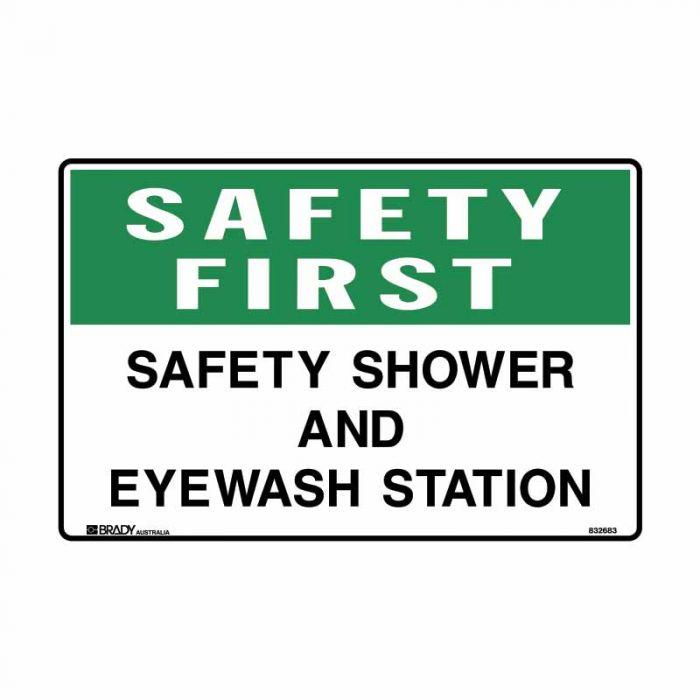 832683 Emergency Information Sign - Safety First Safety Shower And Eyewash Station