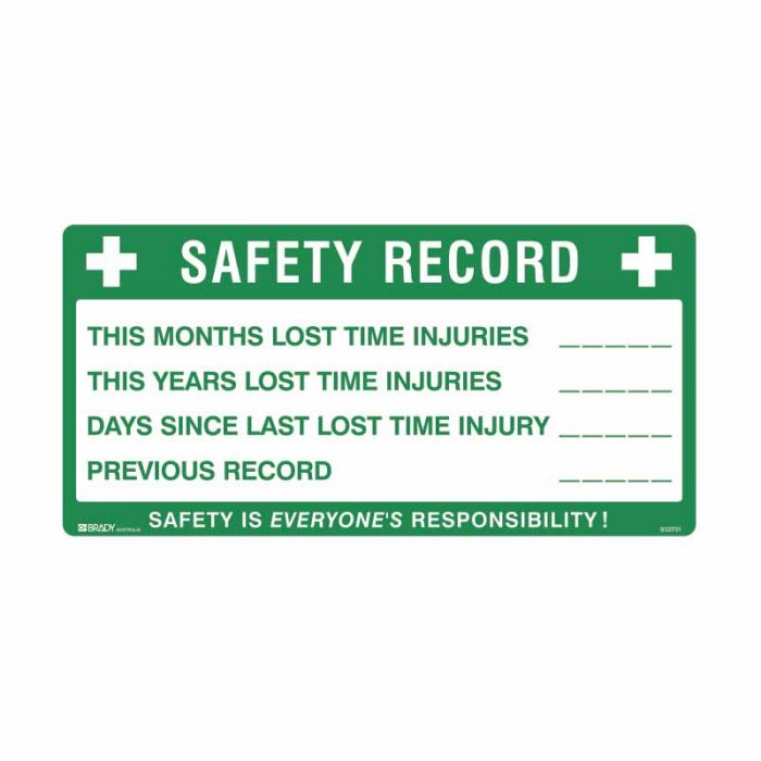 832731 Emergency Information Sign - Safety Record This Months Lost Time Injuries..This Years Lost Time
