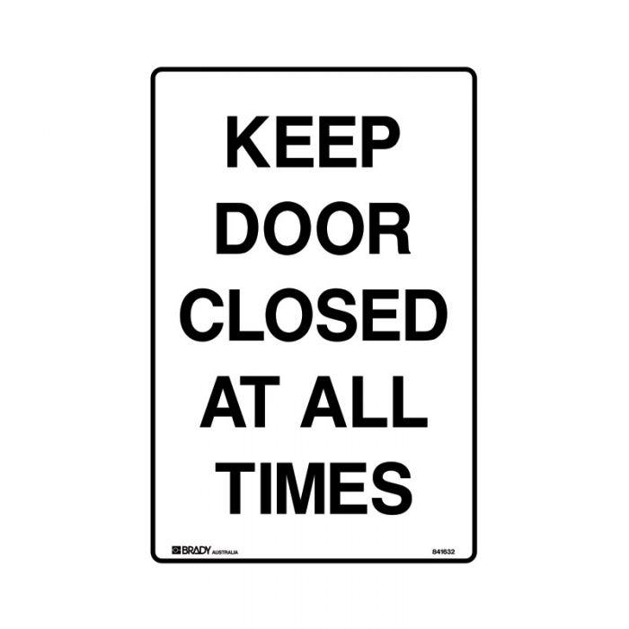 833033 Door Sign - Keep Door Closed At All Times