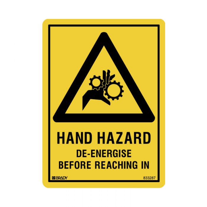 833287 Small Stick On Labels - Hand Hazard De-Energise Before Reaching In