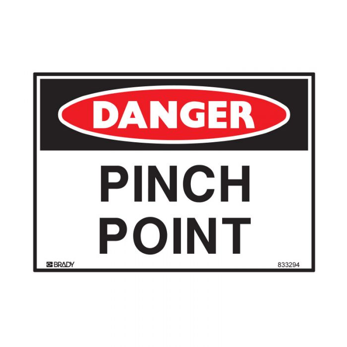833294 Small Stick On Labels - Danger Pinch Point