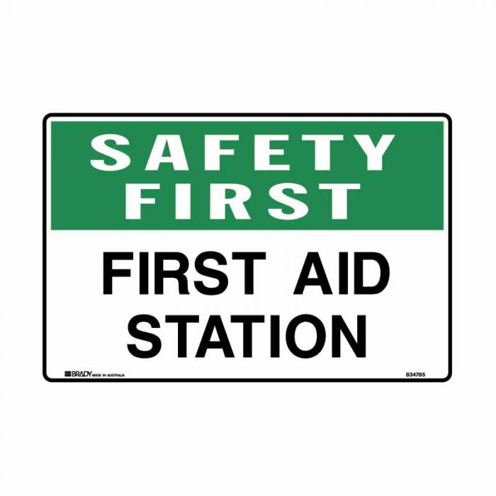 834785 Emergency Information Sign - Safety First First Aid Station