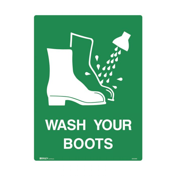 835395 Emergency Information Sign - Wash Your Boots