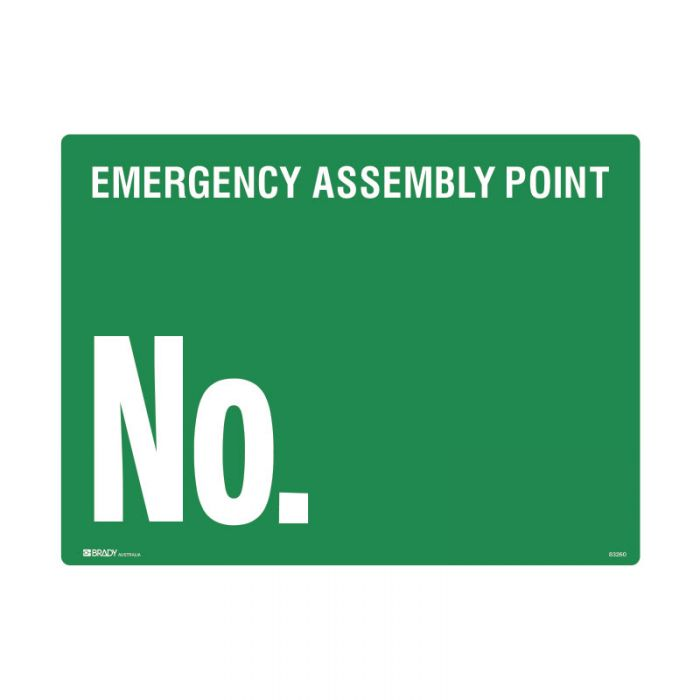 Emergency Information Sign - Emergency Assembly Point No. (Polypropylene) H450mm x W600mm