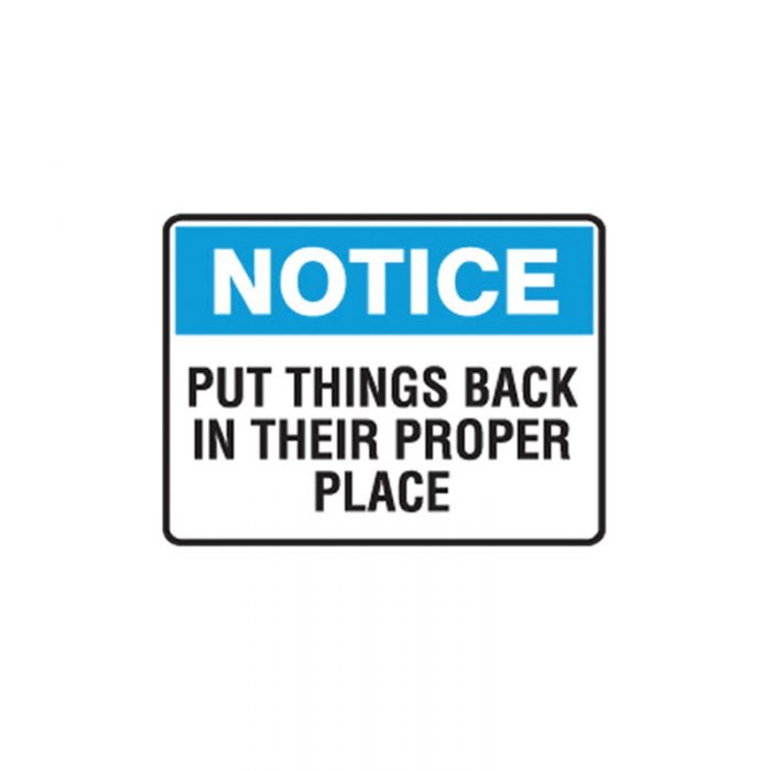 Small Stick On Labels - Notice Put Things Back In Their Place (Self Adhesive Vinyl) H90mm x W125mm