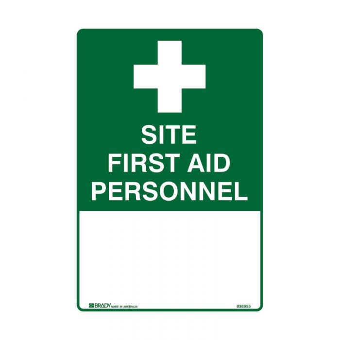838855 Emergency Information Sign - Site First Aid Personnel