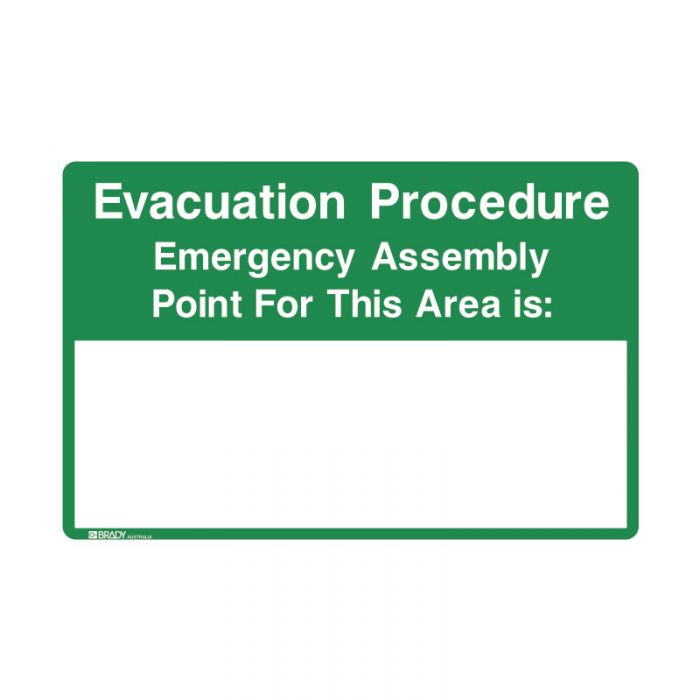 838860 Emergency Information Sign - Evacuation Procedure Emergency Assembly Point For This Area Is