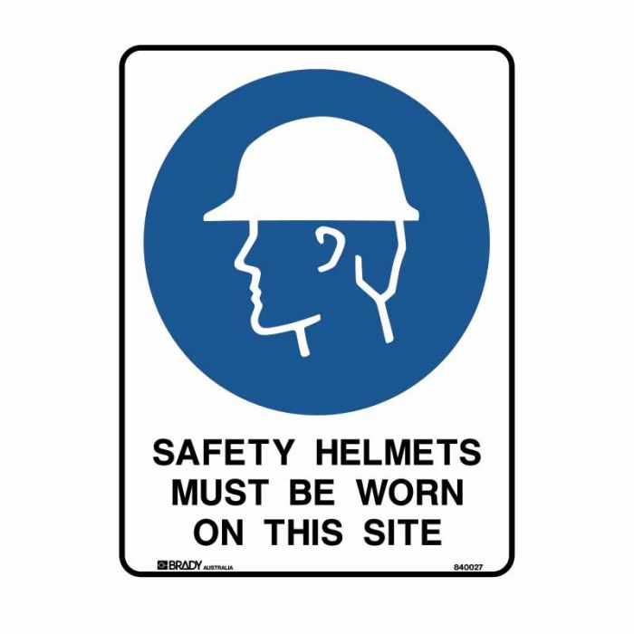 840025 Building & Construction Sign - Safety Helmets Must Be Worn On This Site