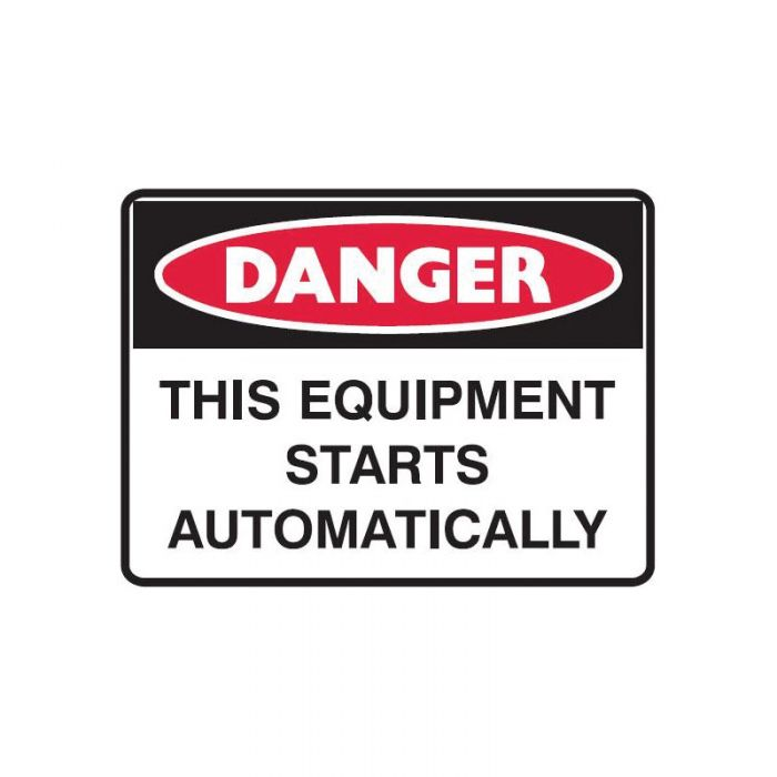Small Stick On Labels - Danger This Equipment Starts Automatically (Self Adhesive Vinyl) H45mm x W38mm