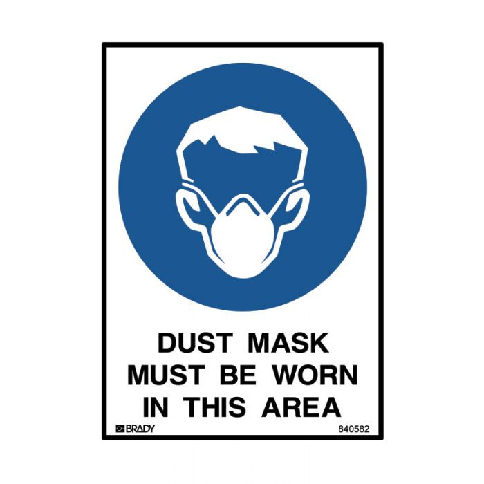 840582 Small Stick On Labels - Dust Mask Must Be Worn In This Area