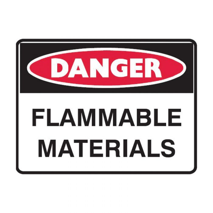 841088 Small Stick On Labels - Danger Flammable Materials