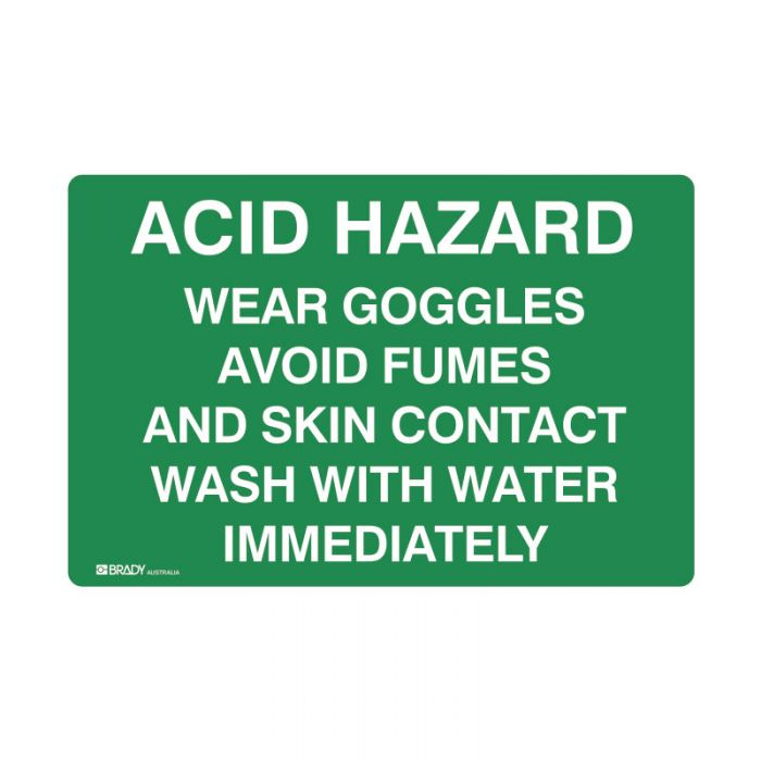 841289 Emergency Information Sign - Acid Hazard Wear Goggles Avoid Fumes And Skin Contact Wash With