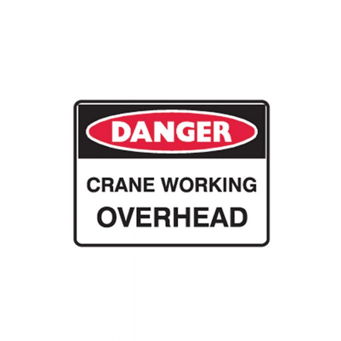 841402 Small Stick On Labels - Danger Crane Working Overhead