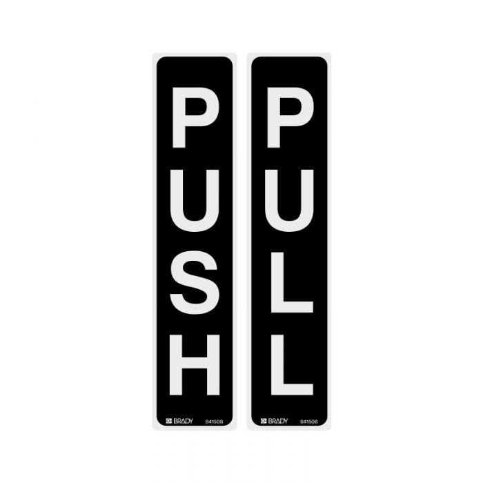 841508 Door Sign - Push-Pull Vertical Black