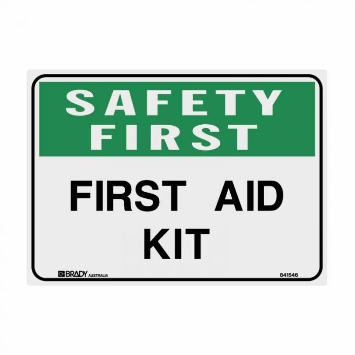 841545 Emergency Information Sign - Safety First First Aid Kit