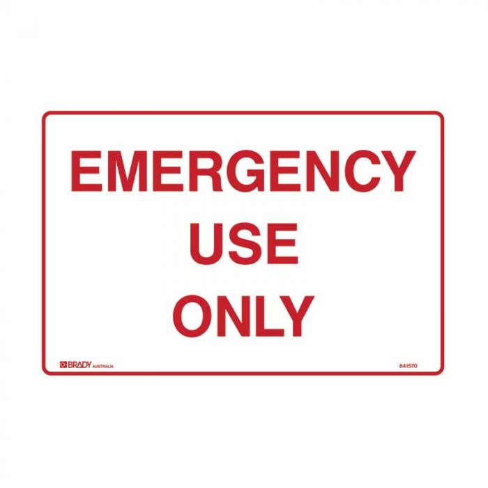 841570 Emergency Information Sign - Emergency Use Only