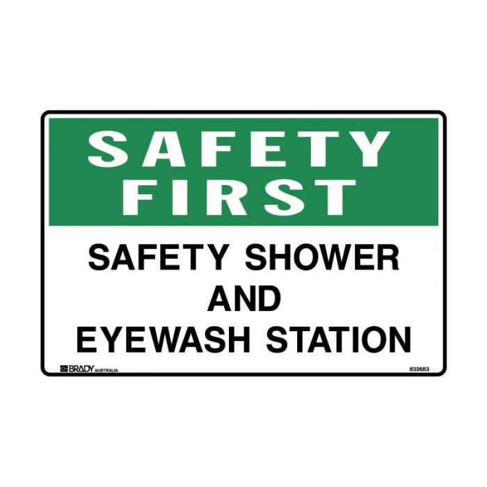 841577 Emergency Information Sign - Safety First Safety Shower And Eyewash Station