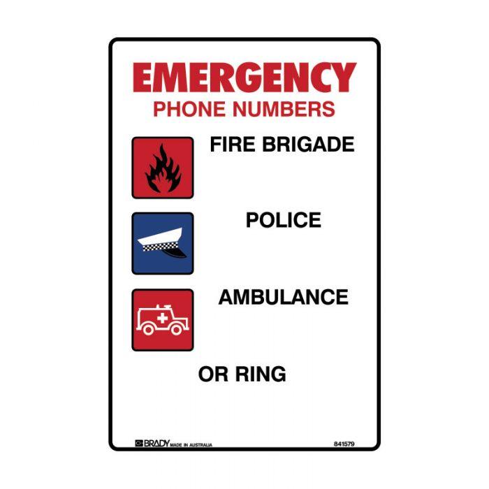841579 Emergency Information Sign - Emergency Phone Numbers..