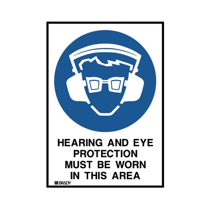 841779 Small Stick On Labels - Hearing And Eye Protection Must Be Worn In This Area