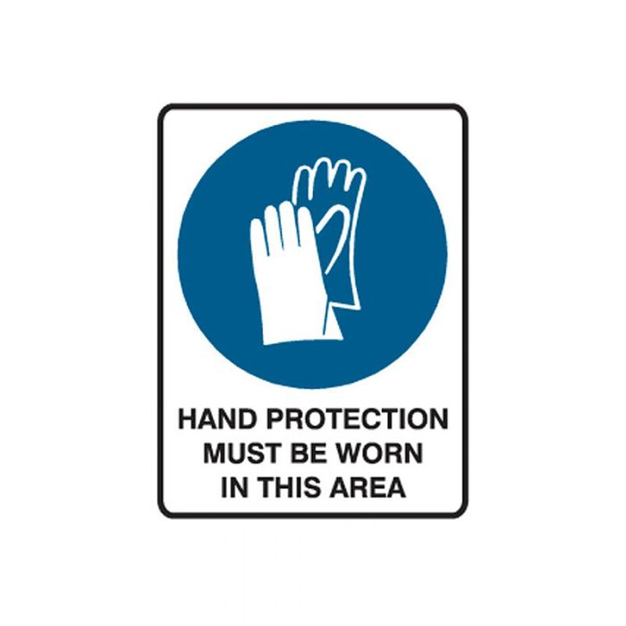 841780 Small Stick On Labels - Hand Protection Must Be Worn In This Area