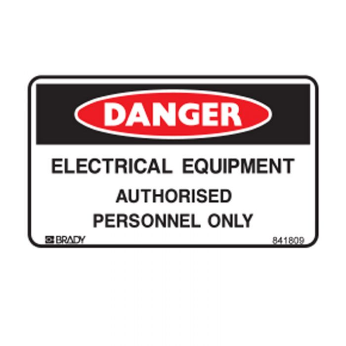 841809 Small Stick On Labels - Danger Electrical Equipment Authorised Personnel Only