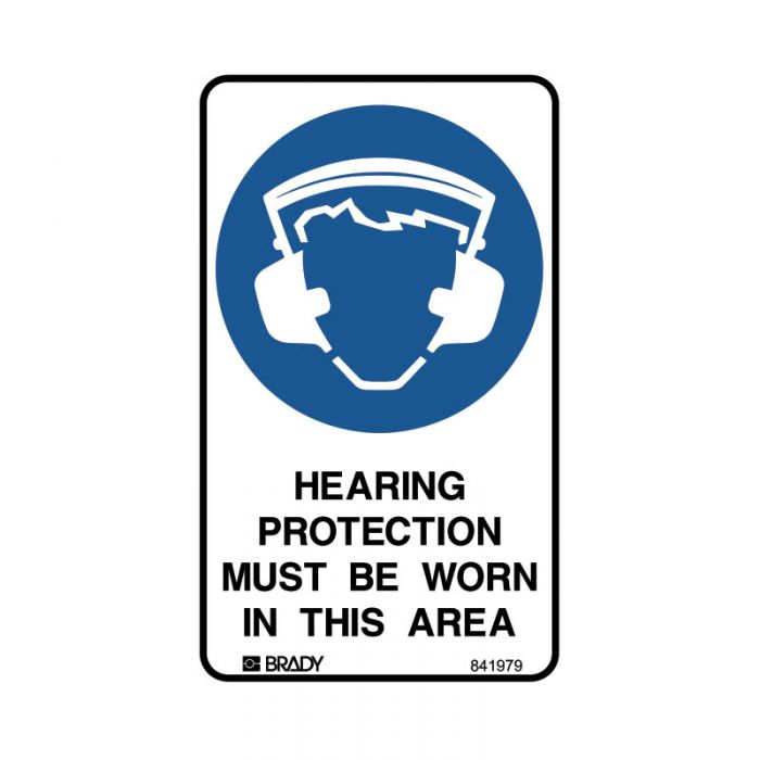 841979 Small Stick On Labels - Hearing Protection Must Be Worn In This Area