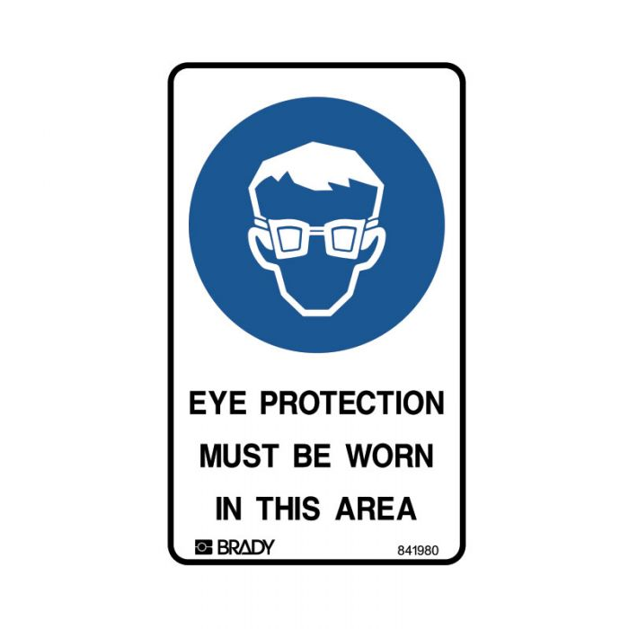 841980 Small Stick On Labels - Eye Protection Must Be Worn In This Area