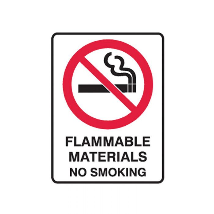 842149 Small Stick On Labels - Flammable Materials No Smoking