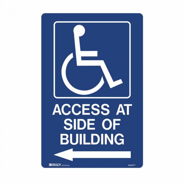842277 Accessible Traffic & Parking Sign - Access At Side Of Building Arrow Left