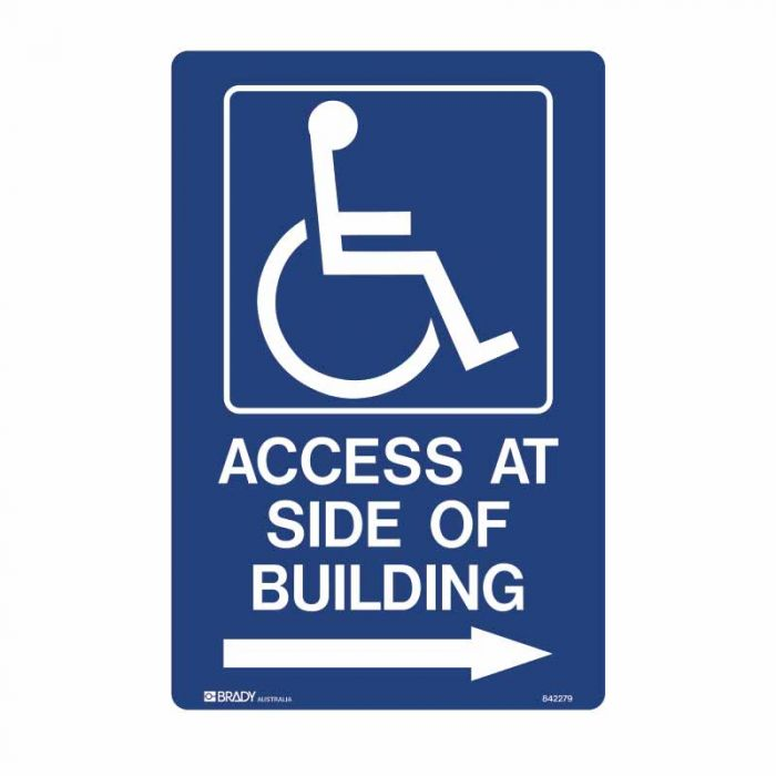 842280 Accessible Traffic & Parking Sign - Access At Side Of Building Arrow Right
