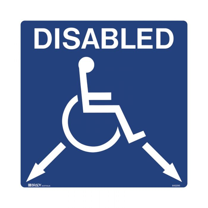 842295 Accessible Traffic & Parking Sign - Disabled Arrrows Down Left and Right