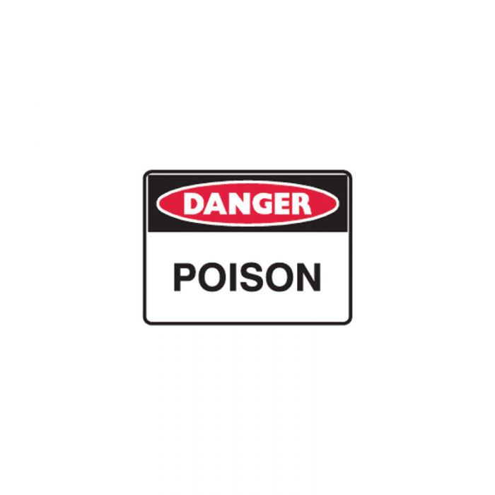 Small Stick On Labels - Danger Poison (Self Adhesive Vinyl) H90mm x W125mm