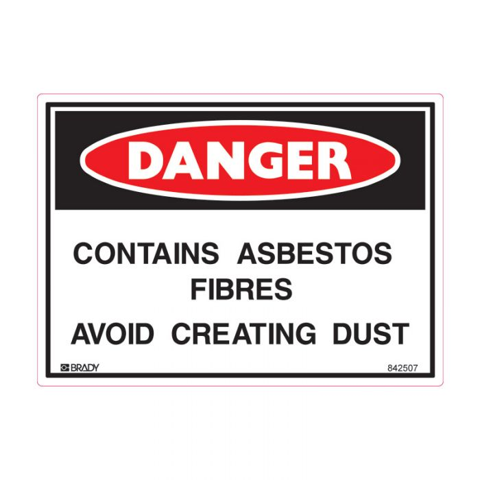 842507 Small Stick On Labels - Danger Contains Asbestos Fibres Avoid Creating Dust