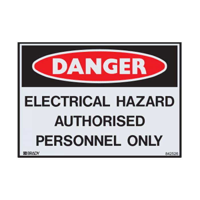 842526 Small Stick On Labels - Danger Electrical Hazard Authorised Personnel Only