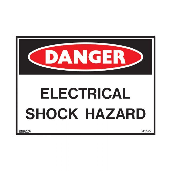 842527 Small Stick On Labels - Danger Electrical Shock Hazard
