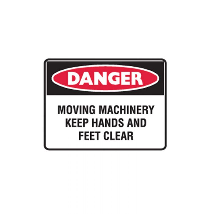 Small Stick On Labels - Danger Moving Machinery Keep Hands And Feet Clear (Self Adhesive Vinyl) H90mm x W125mm