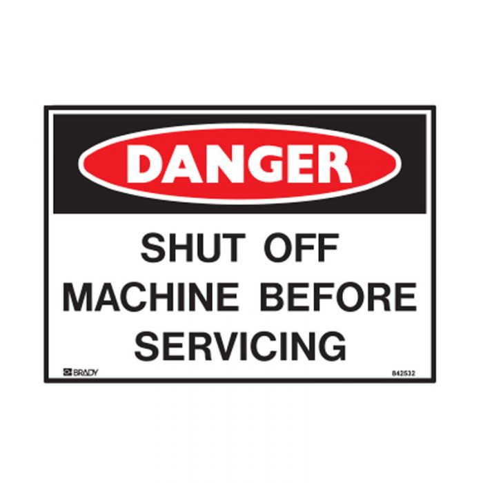 842532 Small Stick On Labels - Danger Shut Off Machine Before Servicing
