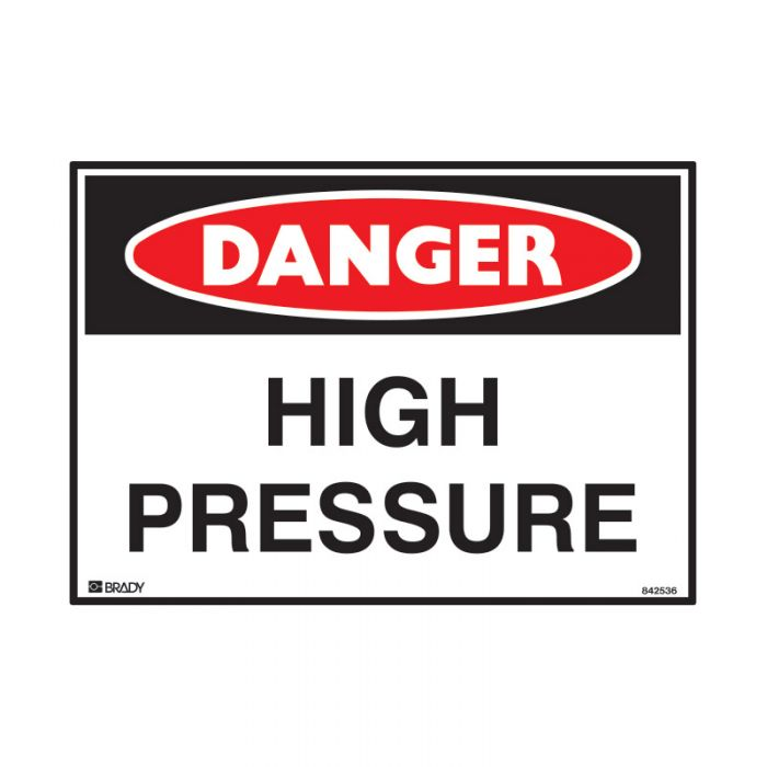 842536 Small Stick On Labels - Danger High Pressure