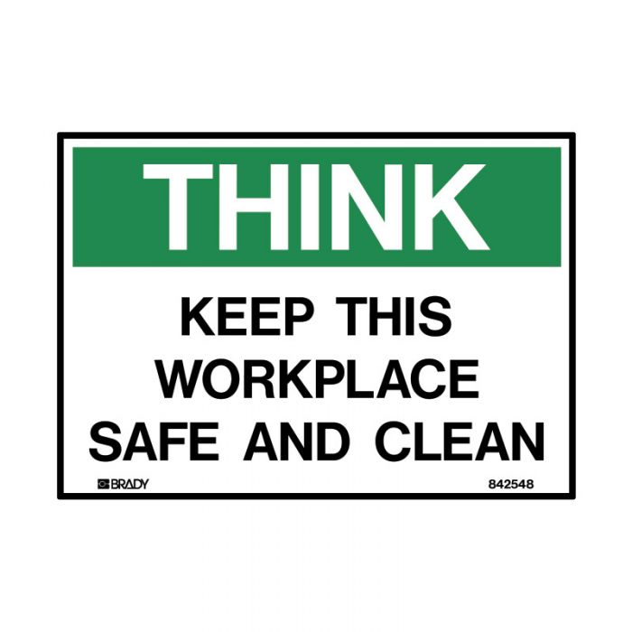 842548 Small Stick On Labels - Think Keep This Workplace Safe And Clean