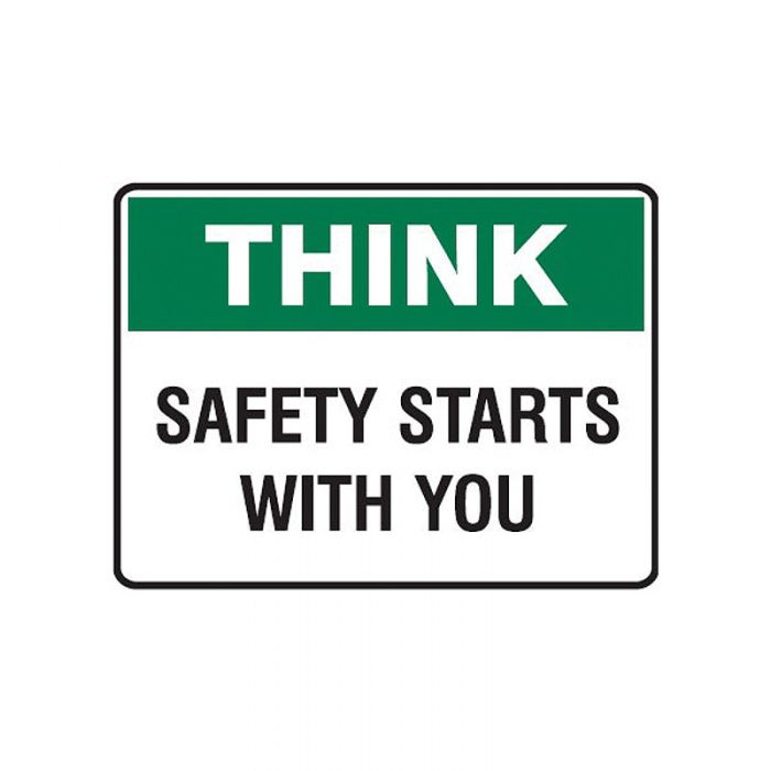 842550 Small Stick On Labels - Think Safety Starts With You