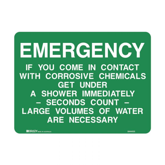 843661 Emergency Information Sign - Emergency If You Come In Contact With Corrosive Chemicals