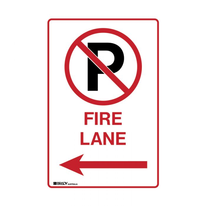 843978 Parking & No Parking Sign - No Parking Either Side Fire Lane with Left Arrow